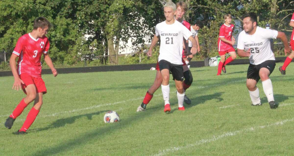 Reed City's Isaac Clementshaw (3) looks to make a move against Newaygo. (Pioneer photo/John Raffel)