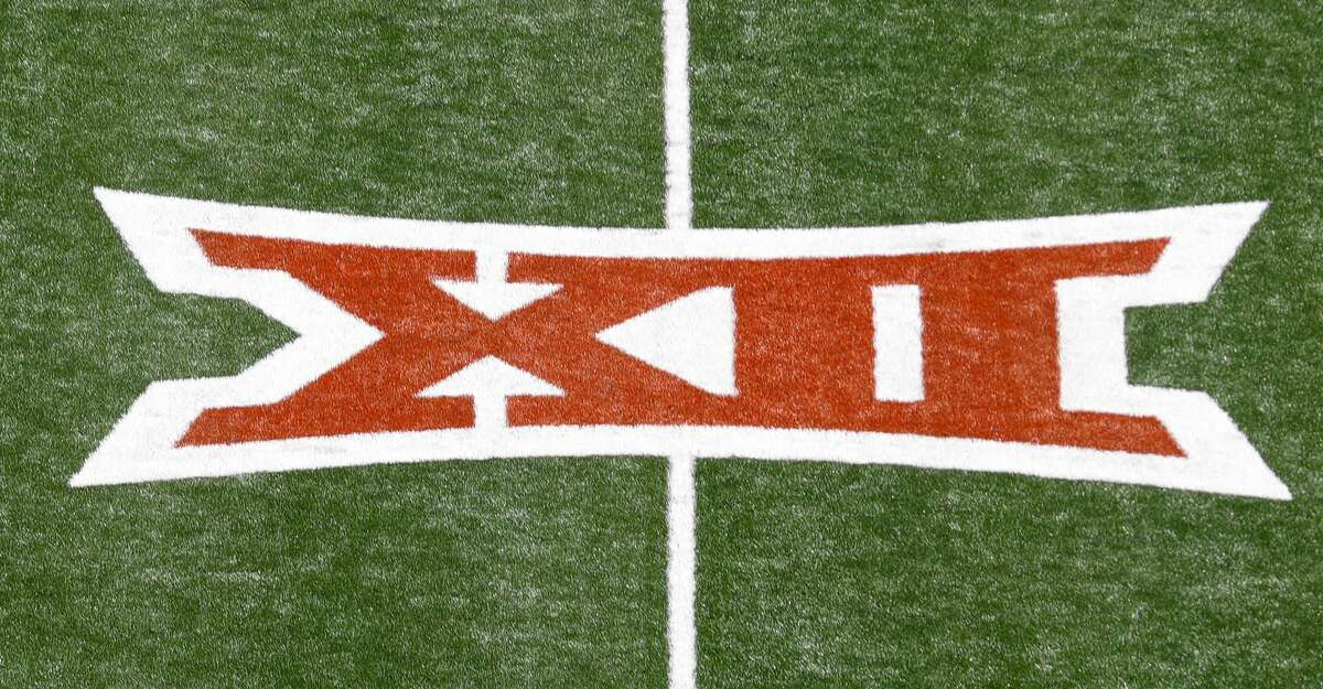 A Big 12 logo is seen on the turf before the game between the Texas Longhorns and the Louisiana Ragin' Cajuns at Darrell K Royal-Texas Memorial Stadium on September 04, 2021 in Austin, Texas. (Photo by Tim Warner/Getty Images)