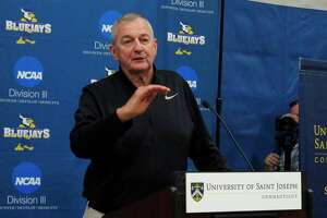 Hall of Fame basketball coach Jim Calhoun talks about his efforts in building a new basketball program at Saint Joseph, a Division III school, during a news conference on the school's West Hartford, Conn., campus Wednesday, May 16, 2018.