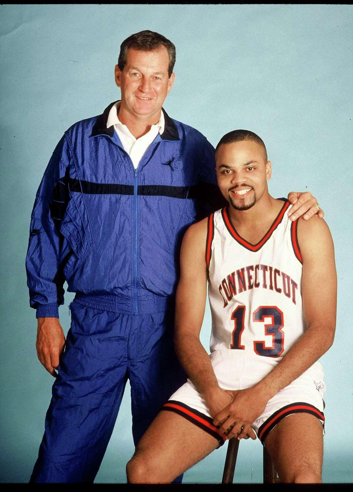 UConn coach Jim Calhoun and star guard Chris Smith pose for picture in 1990.