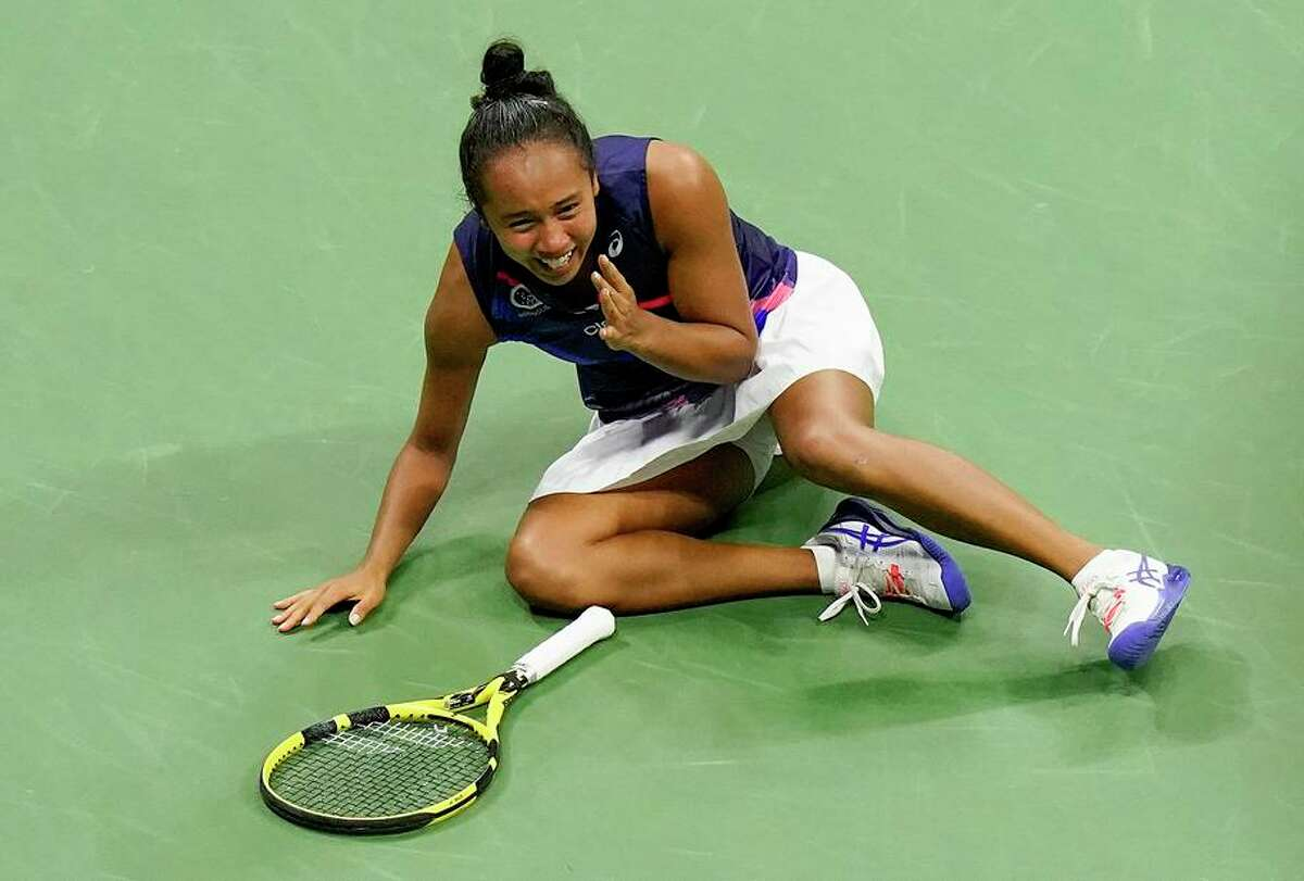 Leylah Fernandez, who turned 19 on Monday, exults after defeating Aryna Sabalenka in the U.S. Open semifinals.