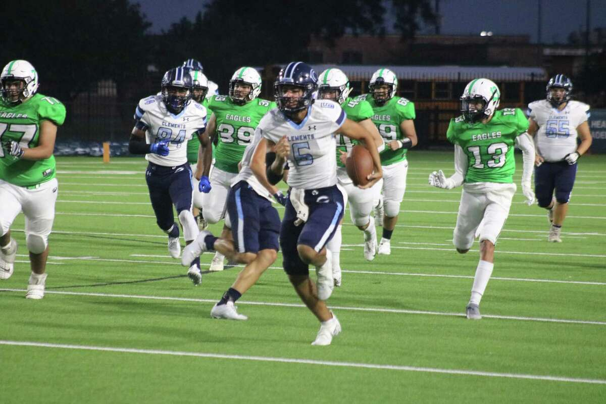 Clements quarterback Gunner Chenier embarks on a 77-yard touchdown run Thursday night, creating a 21-0 lead midway through the second quarter.