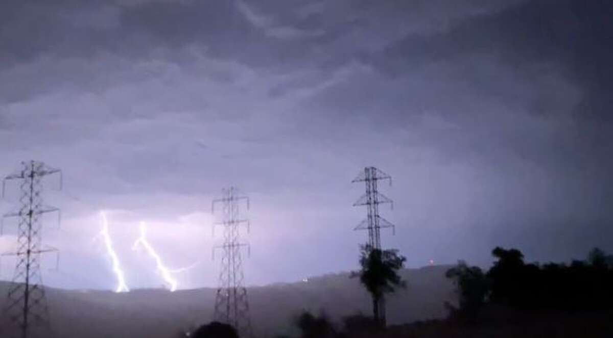 Lightning was seen in various parts of the Bay Area on Sept. 10, 2021. This shot shows lightning in Santa Rosa.