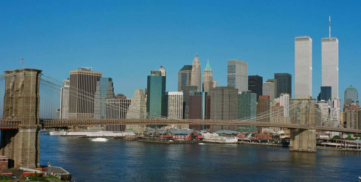 Pictured is Lower Manhattan around 8:30 a.m. on Sept. 11, 2001. The image is a part of September 11, 2001: The Day That Changed the World, an educational exhibition that presents the history of 9/11.