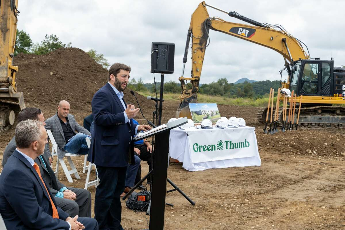 Green Thumb Industries CEO Ben Kovler speaks at the groundbreaking for a new cannabis cultivation and production facility at a former prison in Warwick on Thursday, Sept. 9. The Orange County site expands the company's roster of 16 manufacturing facilities across 14 states. The Warwick site promises to bring at least 100 permanent jobs to the region.