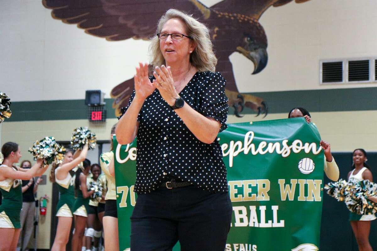 Cypress Falls High School Head Volleyball Coach Kathy Stephenson took over the program when the campus opened in 1992, beginning with freshmen and sophomores and then a varsity team in her second season. (Photo by Hailey Jackson, Cypress Falls)