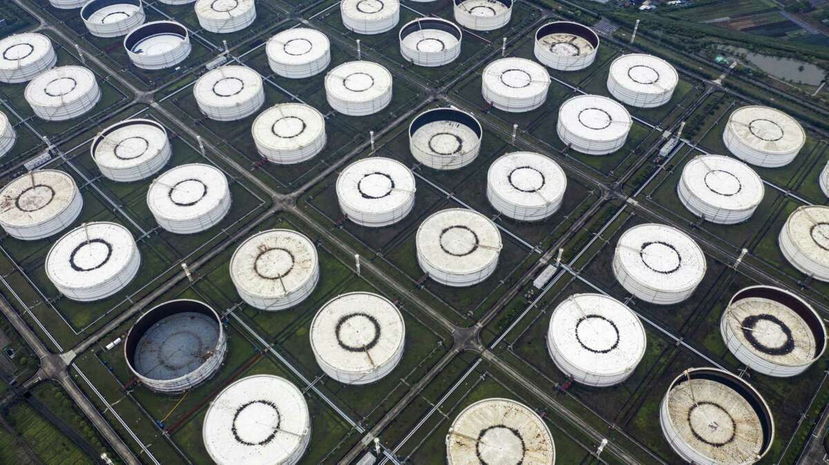 Oil storage tanks are seen in this aerial photograph taken on the outskirts of Ningbo, Zhejiang Province, China, on April 22, 2020.