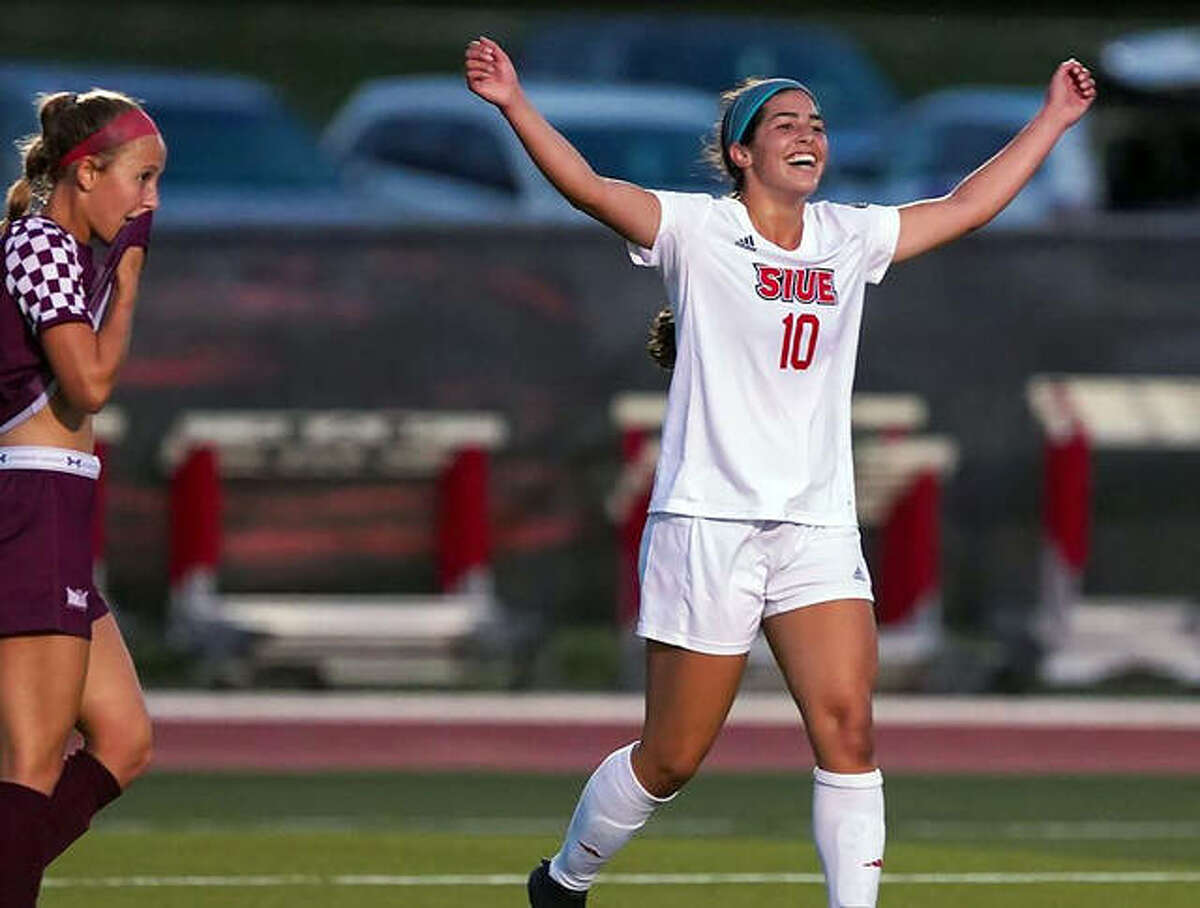 SIUE's Mario Haro celebrates after scoring one of her two goals in Thursday 's night's 5-0 victory over SIU Carbondale at Korte Stadium. Mackenzie Litzsinger also scored twice for SIUE.