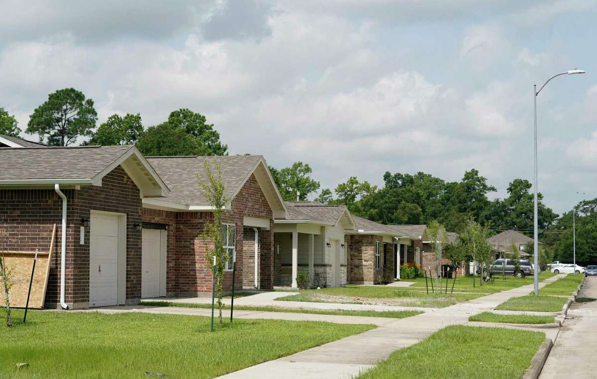 Houston Habitat for Humanity homes in the Acorn Glen neighborhood near Mesa Dr. and Tidwell Rd. in northeast Houston are shown Tuesday, July 13, 2021 in Houston.