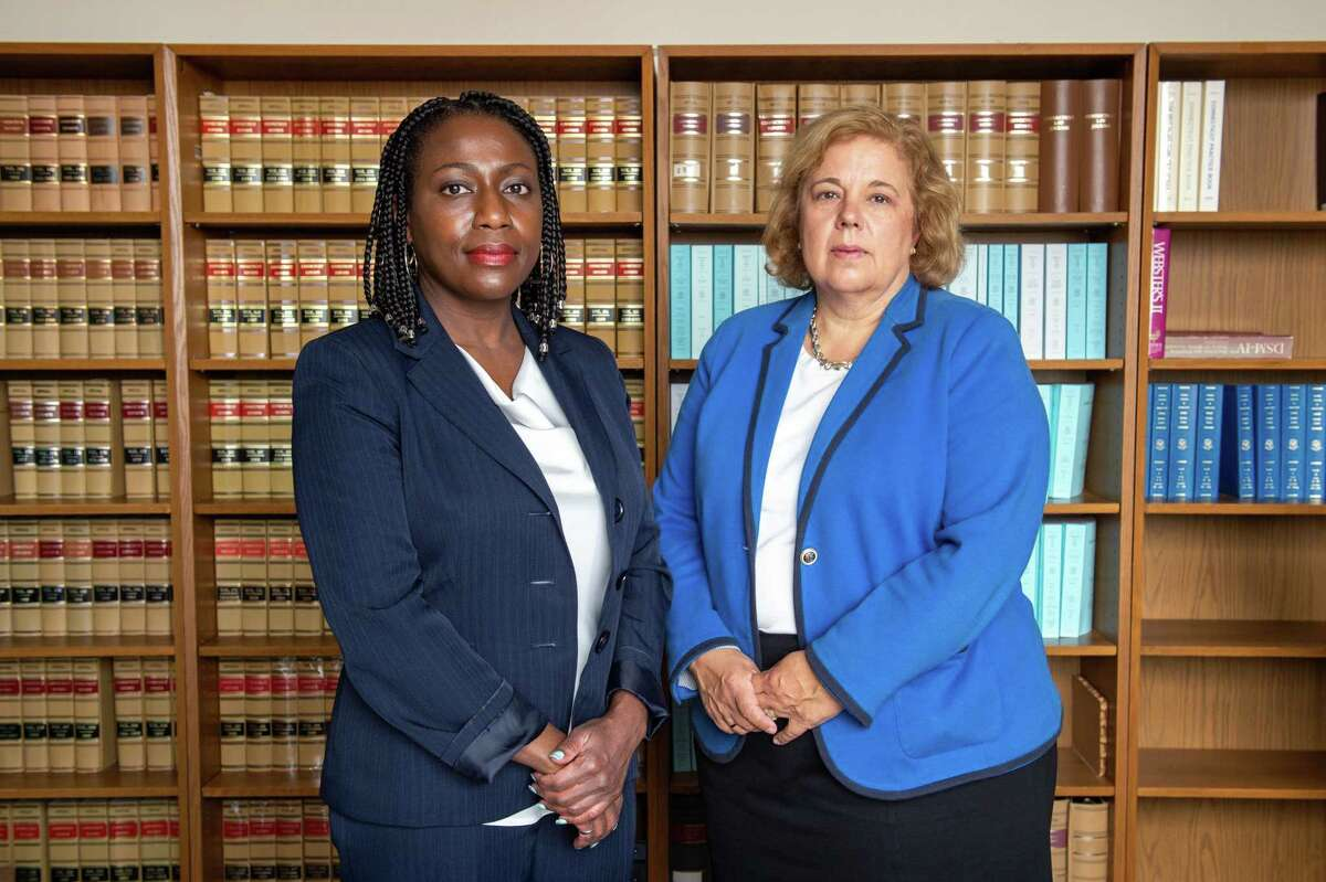 Christine Rapillo, right, chief public defender for the state Division of Public Defender Services, and Jassette Henry, a senior assistant public defender in New Britain and a tri-chair of the Racial Justice and Cultural Competency Committee, say they see higher rates of domestic violence arrests in communities of color.