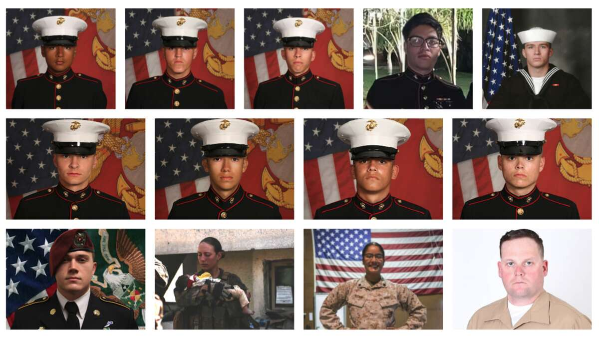 Left to right, top to bottom: Cpl. David L. Espinoza, Cpl. Rylee J. McCollum, Cpl. Dylan R. Merola, Cpl. Humberto A. Sanchez, Navy Hospitalman Maxton W. Soviak, Cpl. Daegan W. Page, Cpl. Hunter Lopez, Cpl. Kareem M. Nikoui, Cpl. Jared M. Schmitz, Staff Sgt. Ryan C. Knauss, Sgt. Nicole L. Gee, Sgt. Johanny Rosariopichardo, Staff Sgt. Darin T. Hoover.