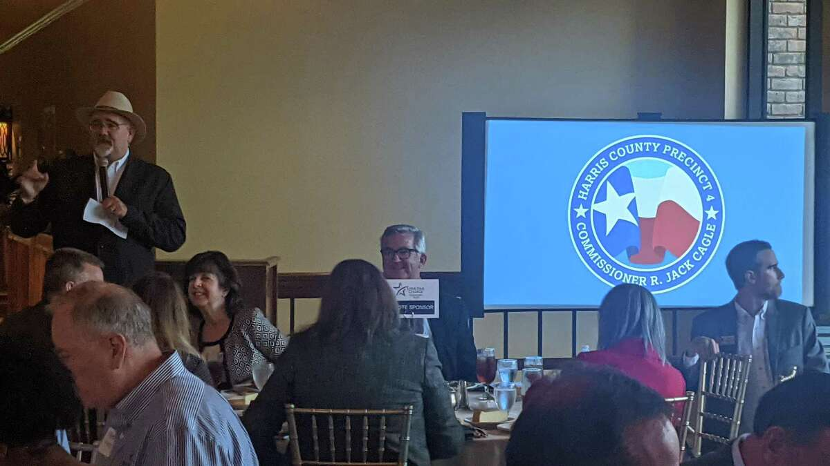 Harris County Precinct 4 Commissioner talks the state of the county Thursday at Northgate Country Club, 17110 Northgate Forest Drive.
