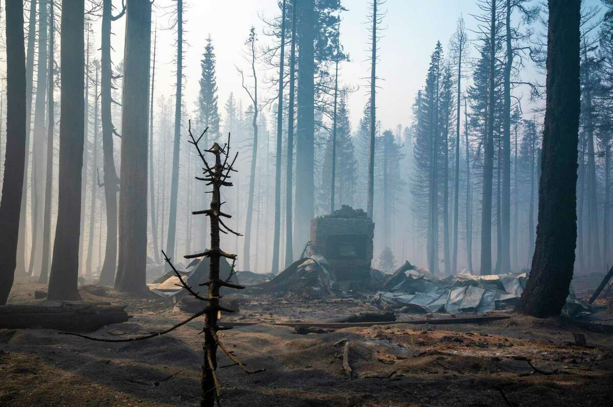 A home in ruins Sunday from the flames of the Caldor Fire in Twin Bridges near Sierra at Tahoe ski resort.