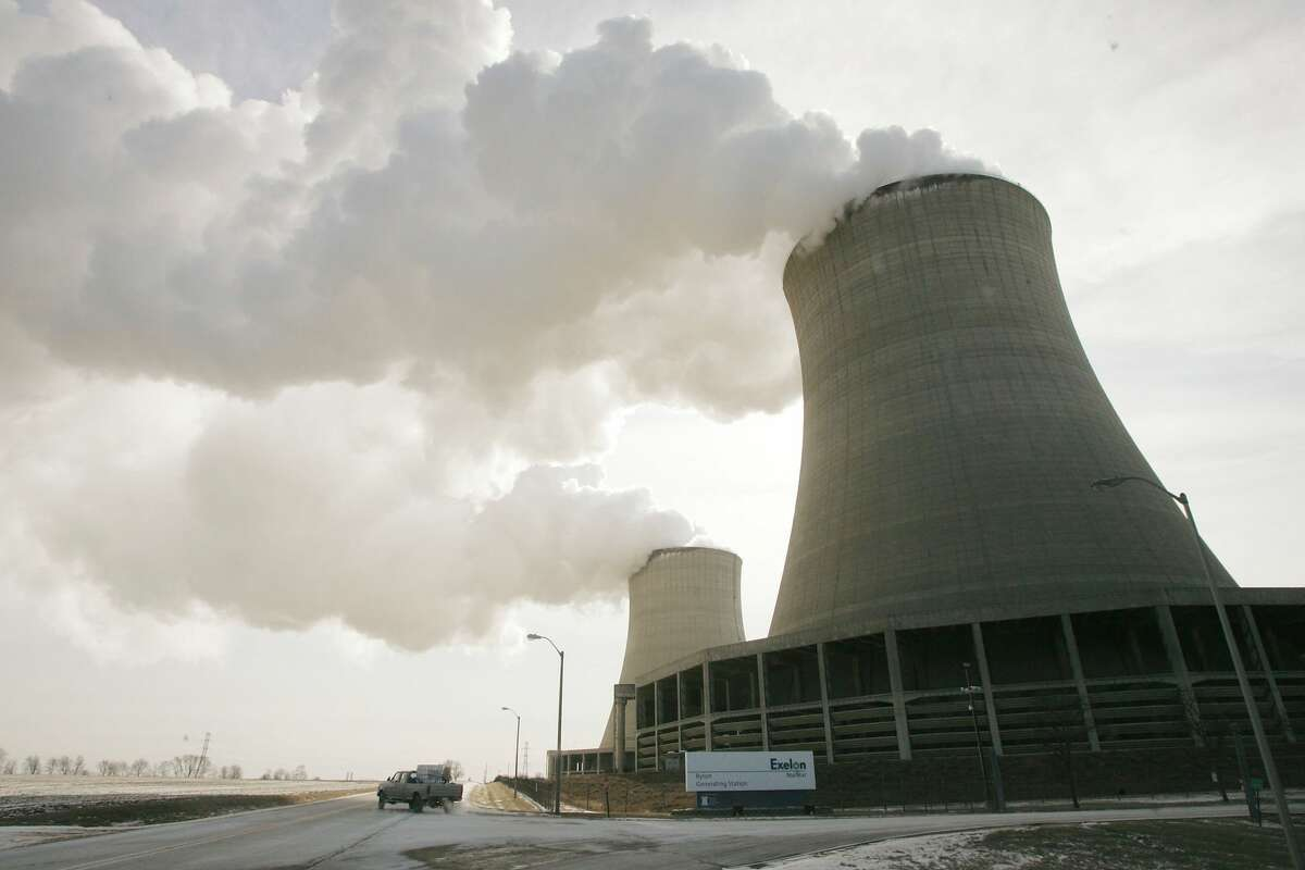 FILE - Steam billows from the cooling towers at Exelon's nuclear power generating station Feb. 17, 2006 in Byron, Illinois. (Photo by Scott Olson/Getty Images)