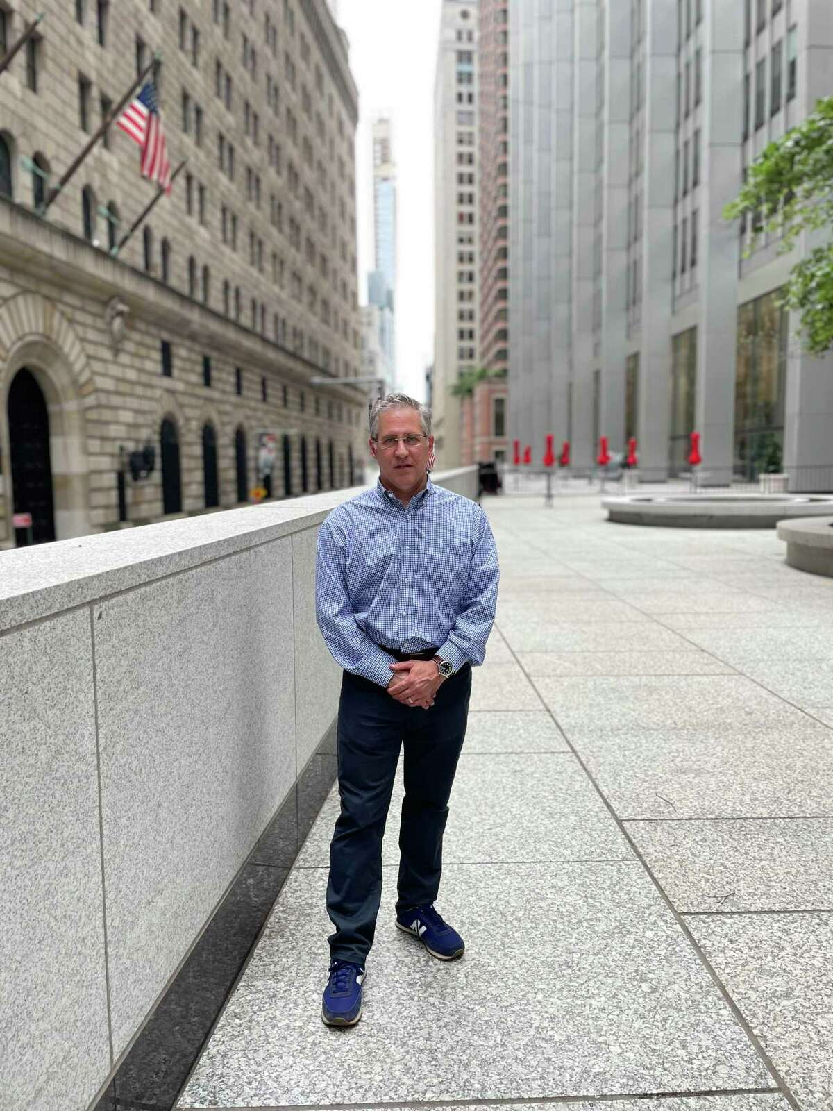 Darien resident Brian Moss stands in Chase Plaza in lower Manhattan on Sept. 5, 2021. From the same location on Sept. 11, 2001, he watched the twin towers of the World Trade Center burn after they were hit by hijacked planes and saw the WTC's South Tower collapse.