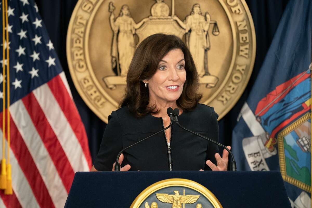 """Gov. Kathy Hochul updates New Yorkers on the state's progress combating COVID-19 and announces a statewide """"Vax to School""""campaign on Sept. 8, 2021."""