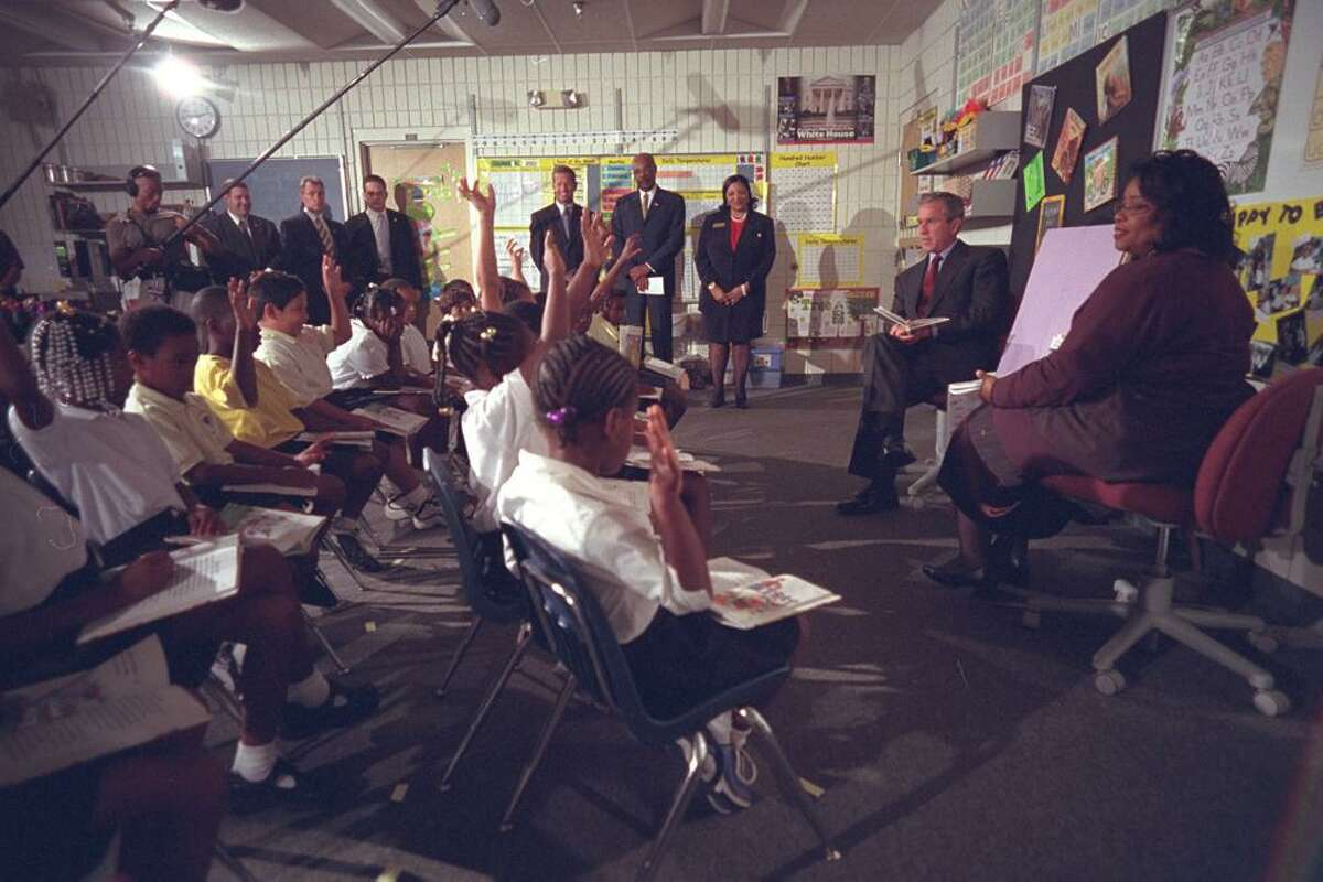 President George W. Bush began his morning of Sept. 11, 2001 by reading to second graders at Emma Booker Elementary School in Sarasota, FL.