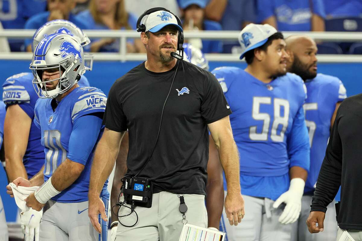Detroit Lions head coach Dan Campbell looks on from the sidelines during the first half of an NFL preseason football game. (Photo by Amy Lemus/NurPhoto via Getty Images)
