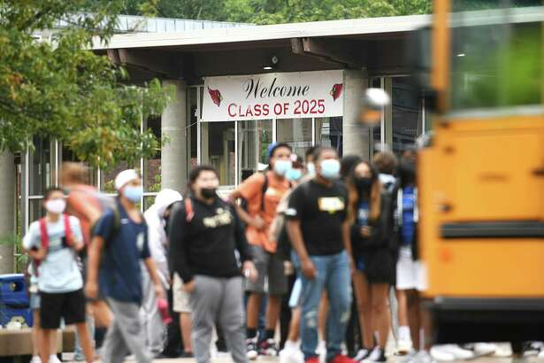 Students are dismissed after the first day of the 2021-2022 school year at Greenwich High School in Greenwich, Conn. Wednesday, Sept. 1, 2021. The first cases of COVID for the new school year were reported at GHS this week.