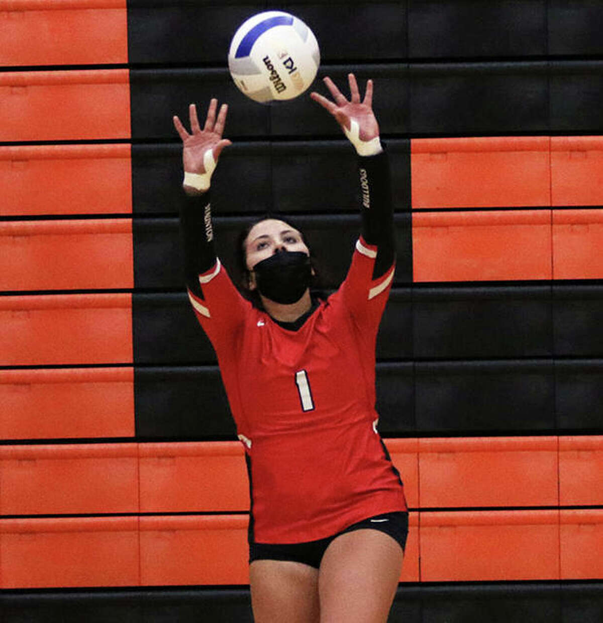 Staunton setter Savannah Billings, shown in a match last weekend at the Edwardsville Tourney, had 18 assists and nine digs in Thursday's two-set SCC win at Carlinville.