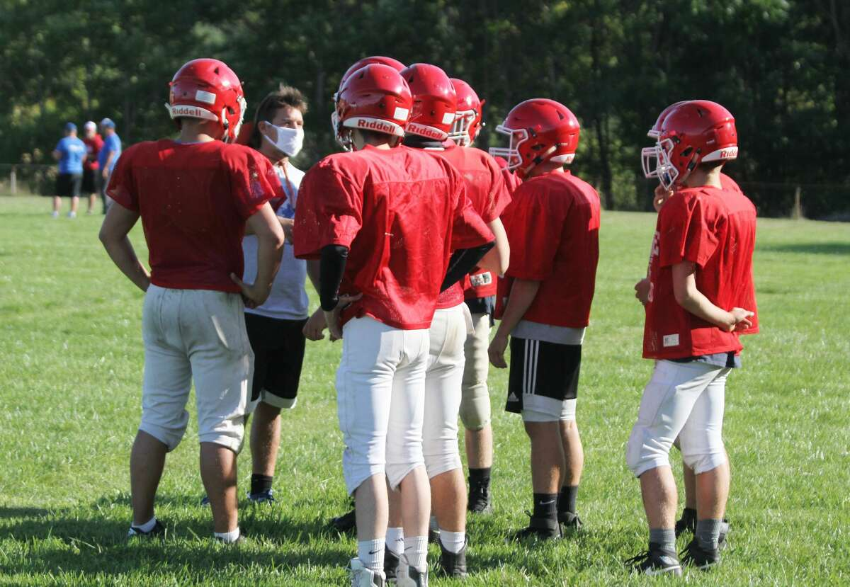 Manistee Catholic Central works through a grueling day of practice.