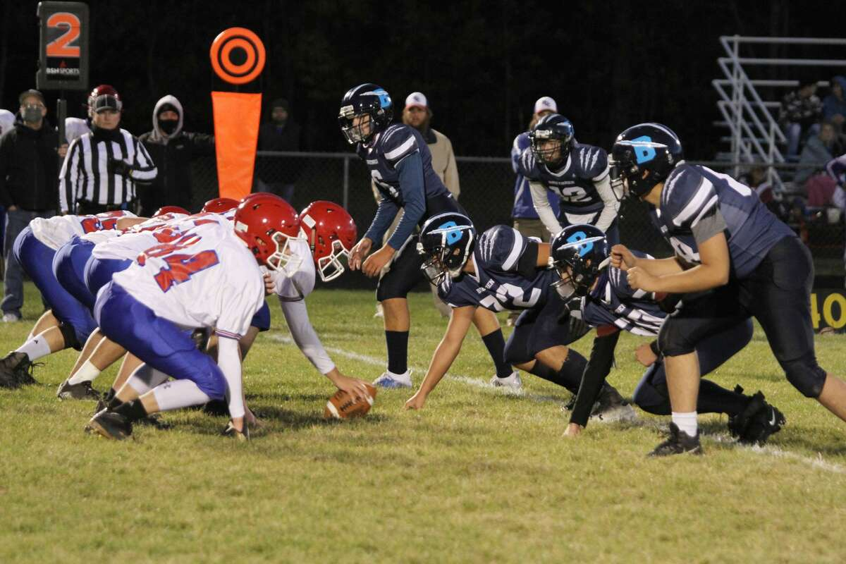The Brethren defense lines up against the Manistee Catholic Central offense in 2020.
