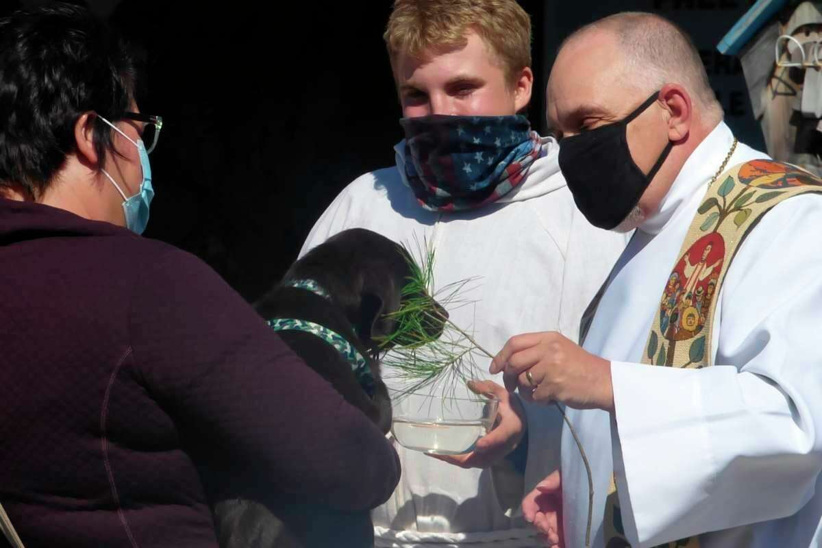 """Clergy members bless pets at Circle Rocking """"S"""" Children's Farm in Free Soil. The annual blessing of the animalsis set to take place Sept. 19 at the farm, located at5487 Tuttle Rd.(File photo)"""