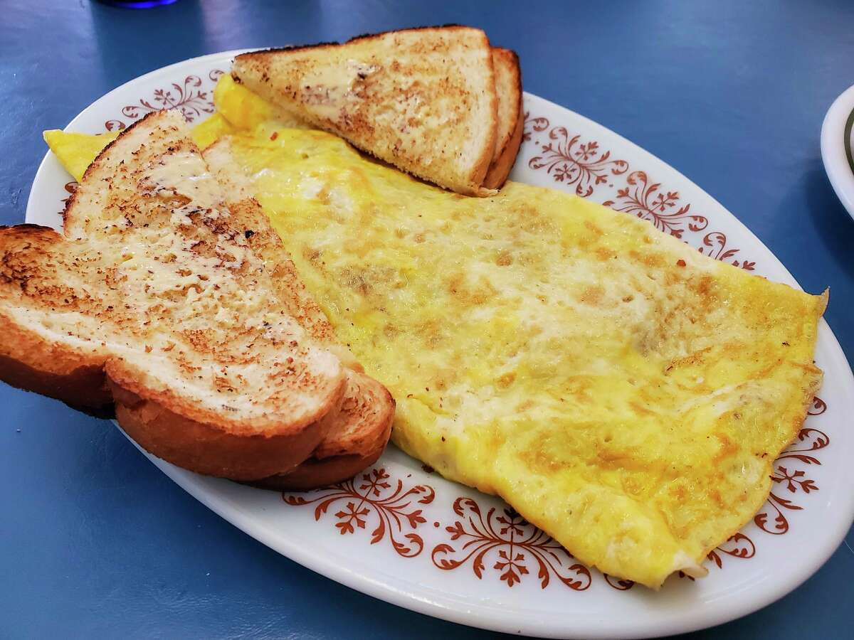 Untouched, the Irish omelet is unassuming, with the egg hiding the contents inside.(Scott Nunn/Huron Daily Tribune)