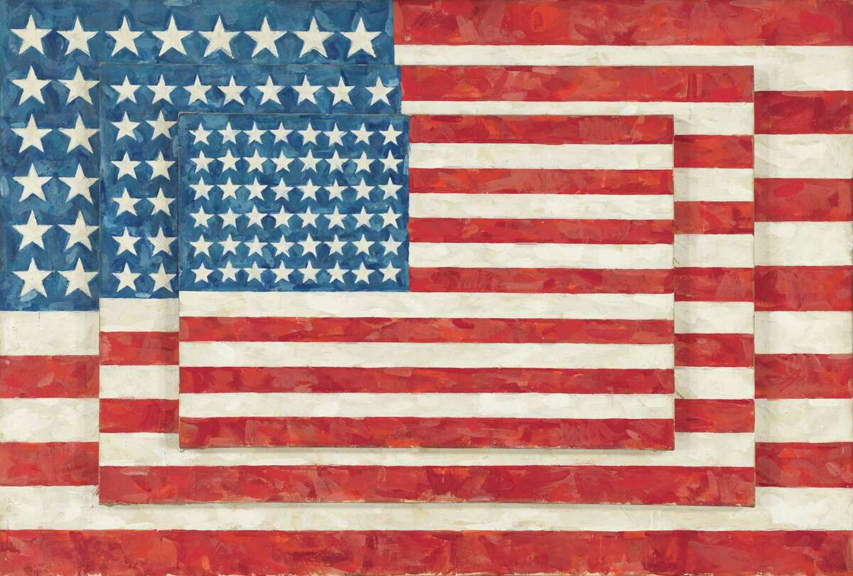 """""""Three Flags"""" by Jasper Johns. A retrospective of the influential artist will take place simultaneously at New York's Whitney Museum of American Art and the Philadelphia Museum of Art."""