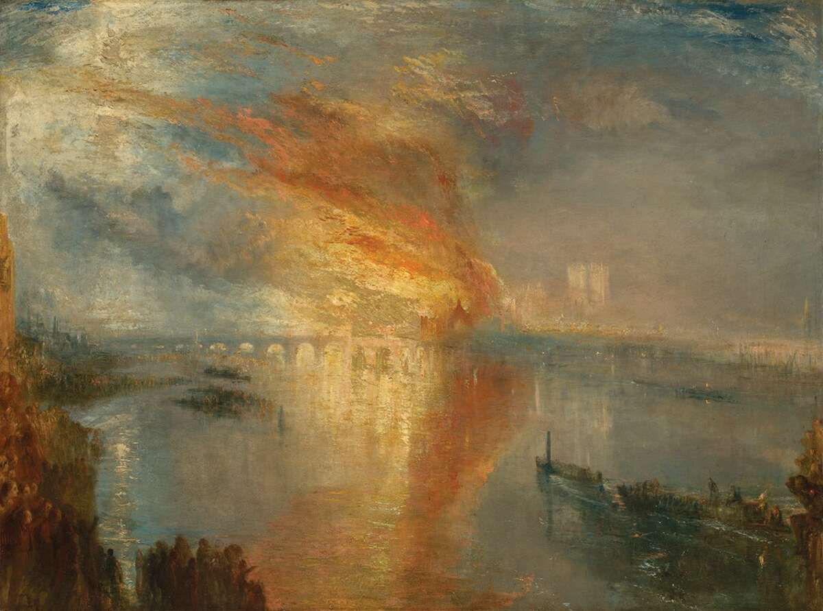 """J.M.W. Turner's """"The Burning of the Houses of Lords and Commons, 16 October, 1834"""" is part of a show this fall at the Kimbell Art Museum in Fort Worth."""