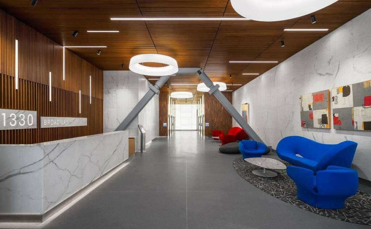 The renovated lobby at 1330 Broadway in Oakland, where Twitter signed a lease for four floors in the 18-story tower.