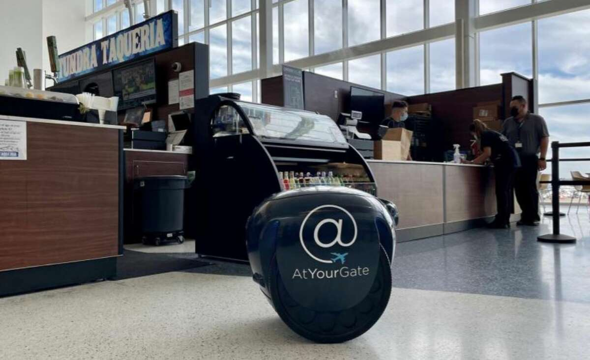 Passengers can now use OrderSEA to order food from their phones and choose pick-up or delivery to their gates from robot Gita.