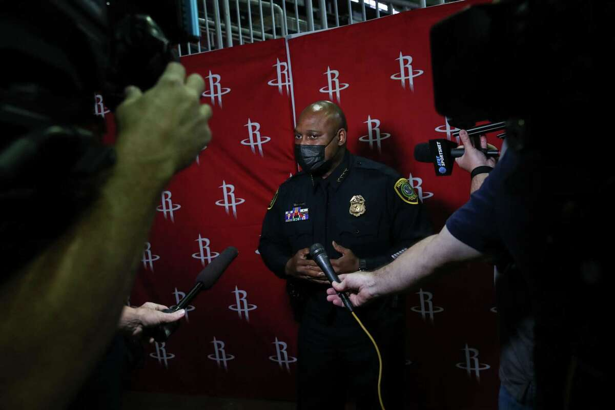 Houston Police Chief Troy Finner speaks with reporters before a ceremony to commemorate the 20th anniversary of the Sept. 11 terrorist attacks Friday, Sept. 10, 2021, at the Toyota Center in Houston.