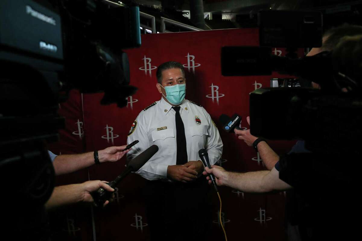 Houston Fire Department Chief Sam Peña speaks with reporters before a ceremony to commemorate the 20th anniversary of the Sept. 11 terrorist attacks Friday, Sept. 10, 2021, at the Toyota Center in Houston.