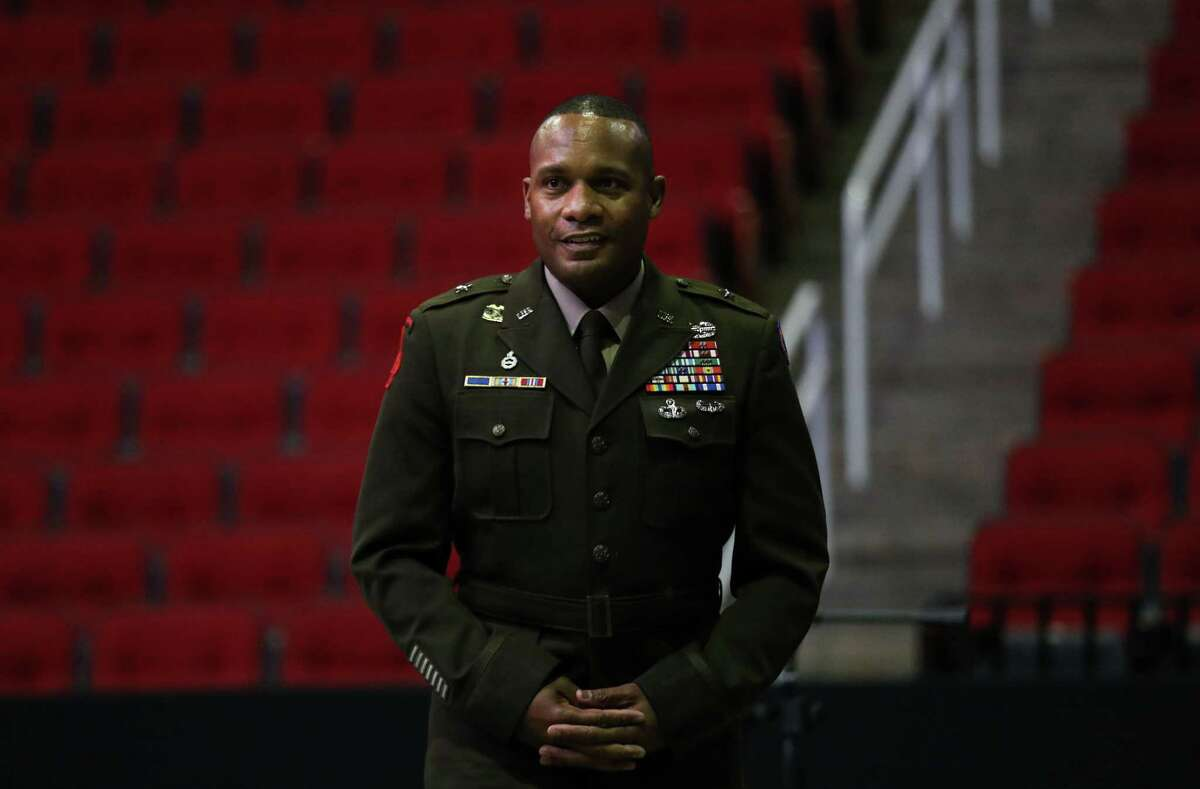 Brig. Gen. Ronald Ragin is introduced during a ceremony to commemorate the 20th anniversary of the Sept. 11 terrorist attacks Friday, Sept. 10, 2021, at the Toyota Center in Houston.