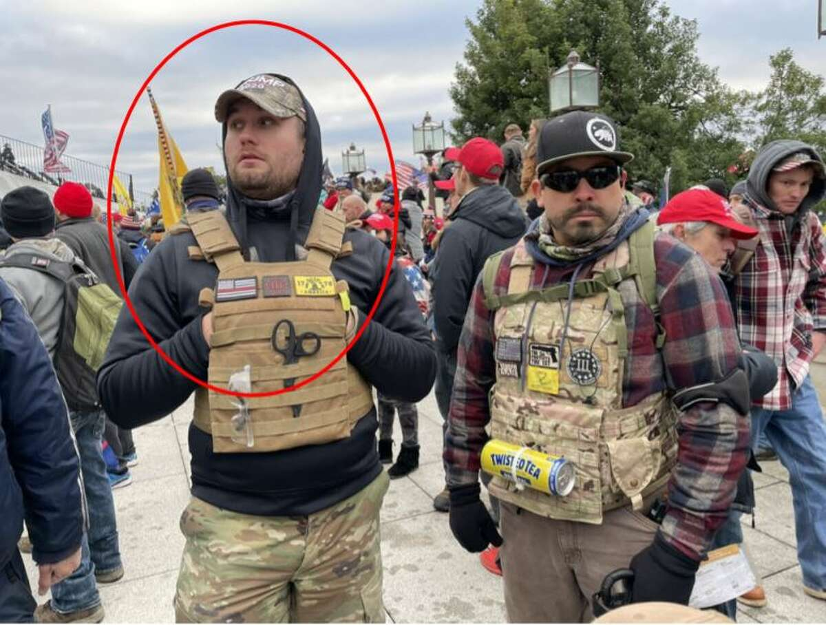 Cory Ray Brannan is standing with Tony Martinez, who has already beencharged with multiple offenses in relation to the Capitol Riot, outside the U.S. Capitol on January 6, 2021.
