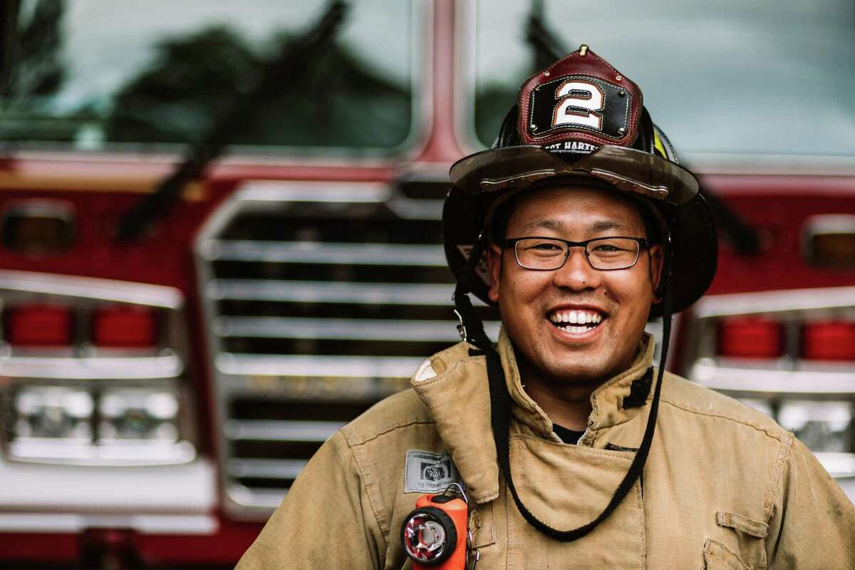 The photos of frontline workers such as this one will be on display at the Noah Webster House throughout the holiday season.