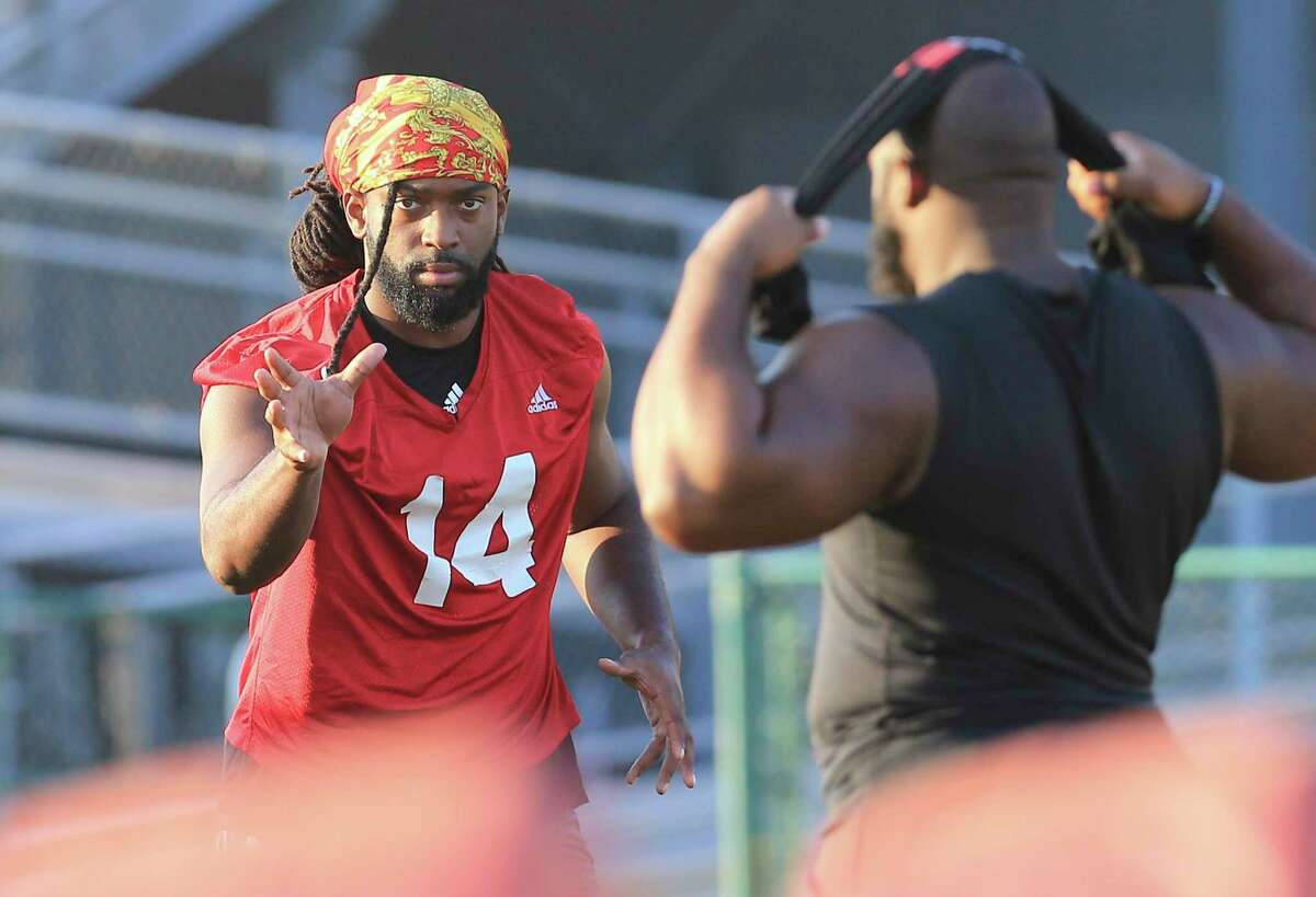 Defensive lineman Brandon Bowen (14) works out at UIW Cardinals' football practice on Thursday, Sept. 9, 2021.