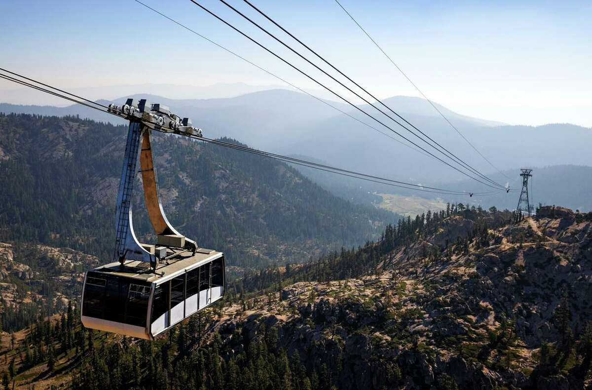 A view of Squaw Valley from the ski resort tram at the rear of the valley.