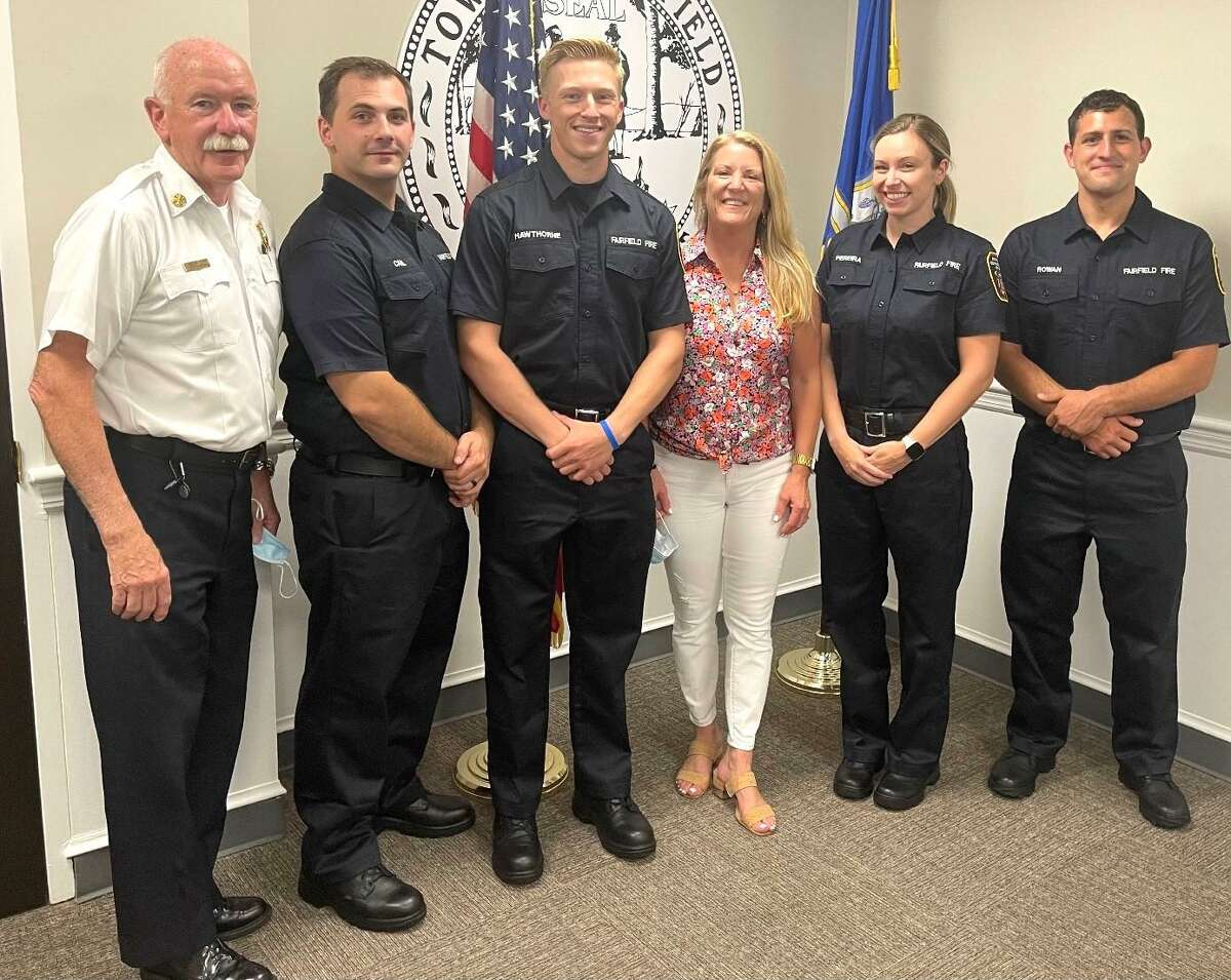 Fairfield welcomed four new firefighters: Caitlin Clarkson Pereira, of Fairfield; Luke Hawthorne, of Mansfield; Michael Canil, of Bethel; and Matthew Rowan, of Trumbull.