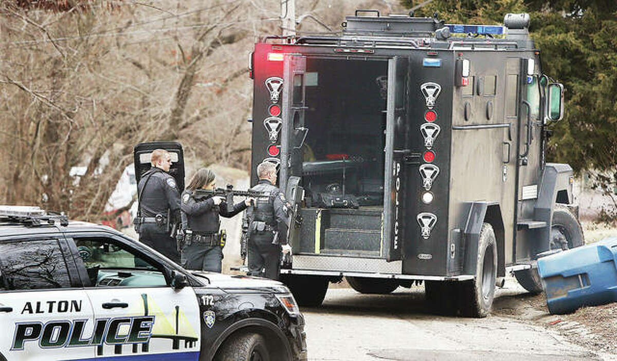 Alton Police deploy their Ballistic Engineered Armored Response vehicle, or BEAR, at an armed standoff in February 2019. Both Alton Police and the Madison County Sheriff's Department received armored vehicles after September 11, 2001.