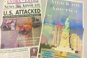 Pictured are two special sections put out by the Manistee News Advocate in the wake of 9/11: an extra edition (left) which was published Sept. 11 and a wrap-around special section which published the following day.