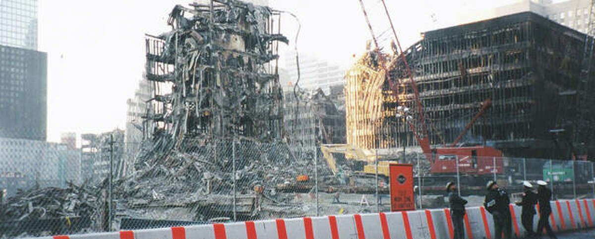 This is the view of Ground Zero from FDNY Engine House 10 that Edwardsville firefighters Mike Picchioldi, Bob Morgan and Rodney Hall had during their visit to New York City in early November 2001.