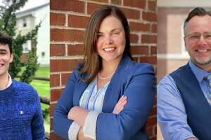 Candidates in Hamden's 2021 mayoral Democratic primary: Peter Cyr, Lauren Garrett and Curt Balzano Leng (incumbent). Photo of Garrett contributed by Richard Rodriguez