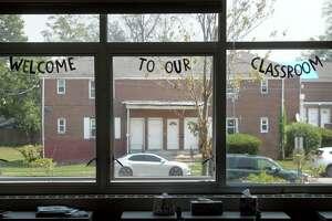 The windows of a kindergarten class at Johnson School, in Bridgeport, Conn. Aug. 27, 2020.