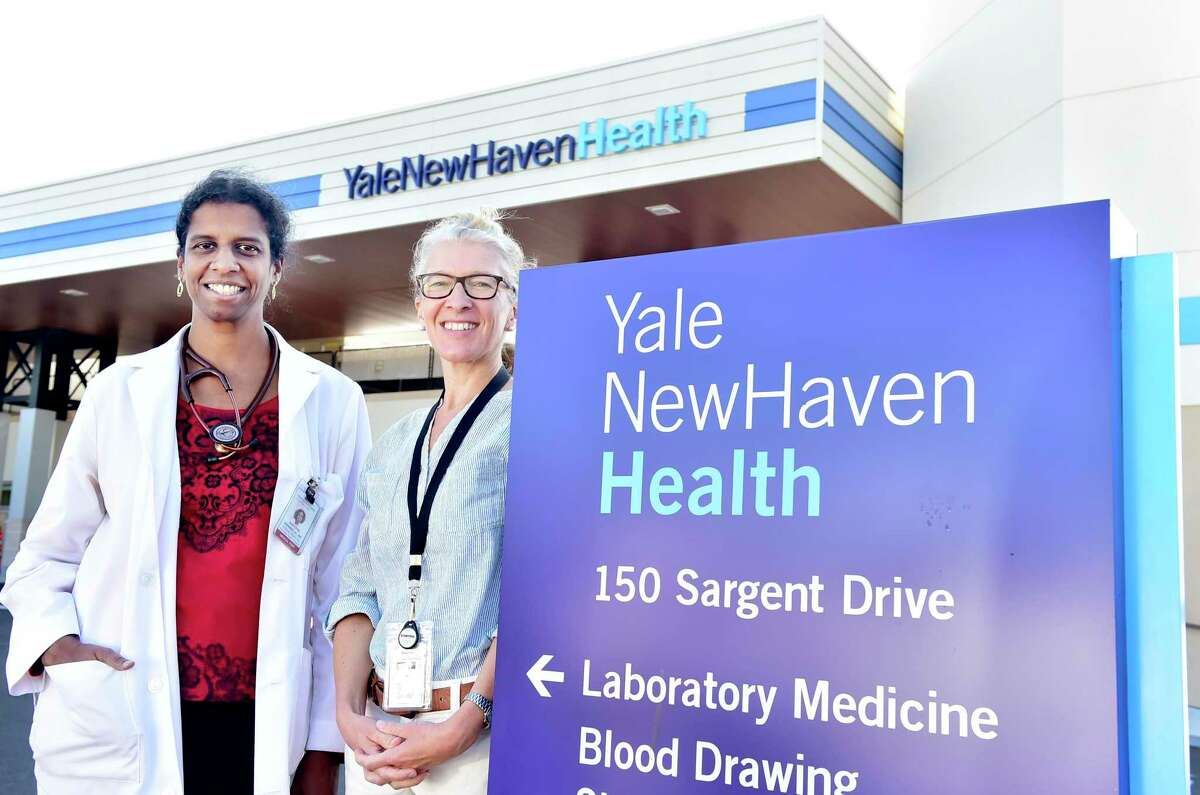 Dr. Aniyizhai Annamalai, left, and Dr. Camille Brown are with the Yale Refugee Health Program.