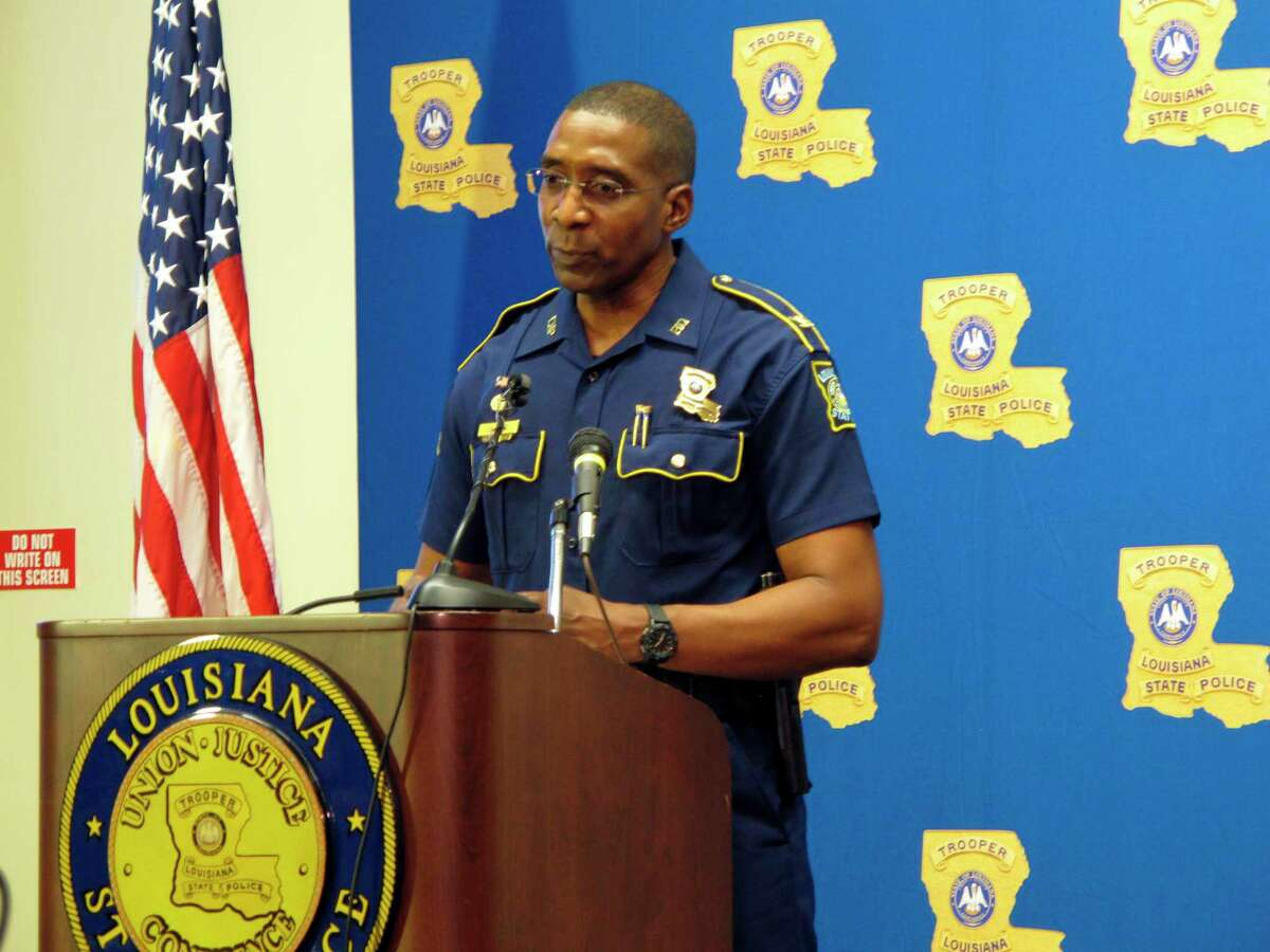 Louisiana State Police leader Col. Lamar Davis speaks to reporters amid a widening federal investigation into state police misconduct, on Friday, Sept. 10, 2021, in Baton Rouge, La.