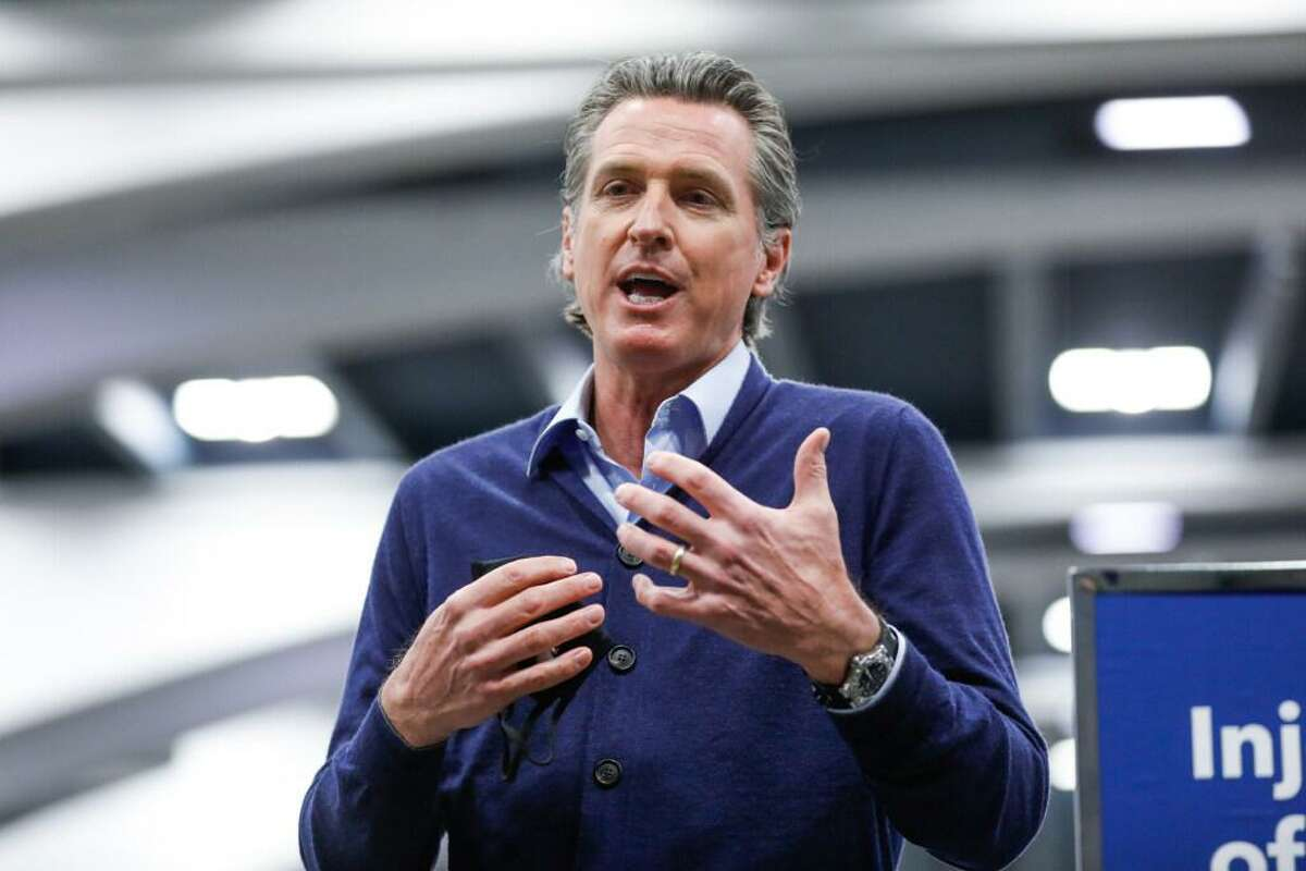 Governor Gavin Newsom visits the Moscone Center vaccination in San Francisco in February.