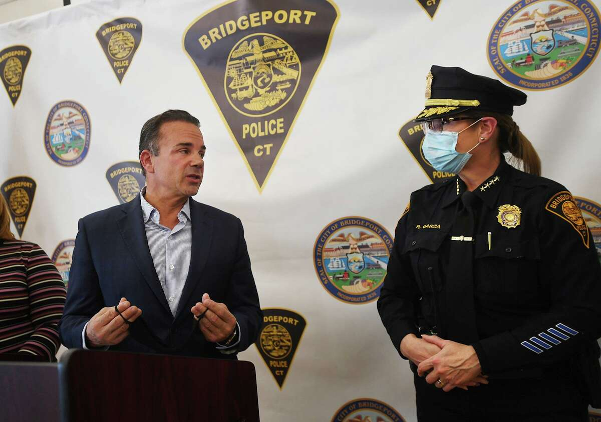Bridgeport Mayor Joe Ganim and Acting Police Chief Rebeca Garcia launch the department's new locally focused recruitment effort at the Bridgeport Police Academy in Bridgeport, Conn. on Tuesday, April 6, 2021.