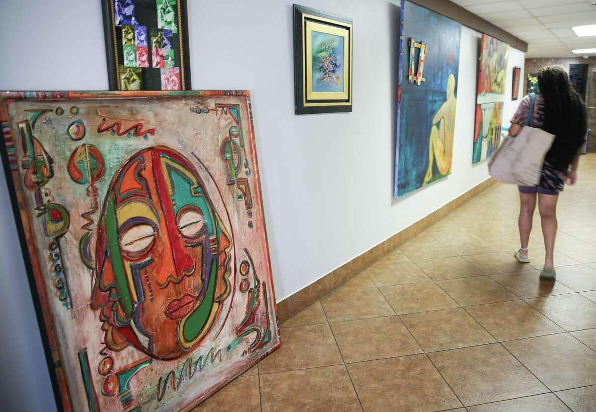 Artwork by Ayo Scott is featured in one of the galleries at the cultural center.